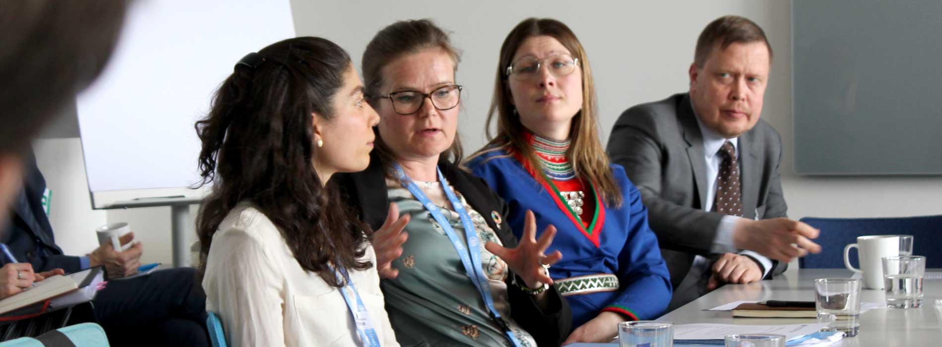 Petra Hallebrant och Ellie Al-Khawati på möte hos FN i Geneve.
